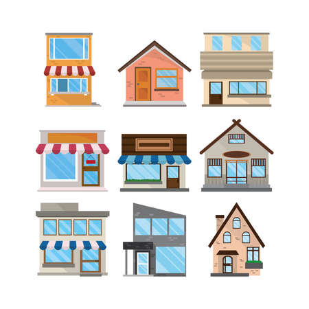 set facades exterior architecture buildings