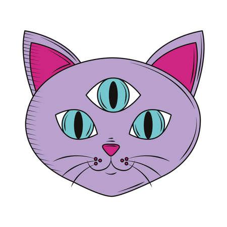 cat three eyes retro cartoon