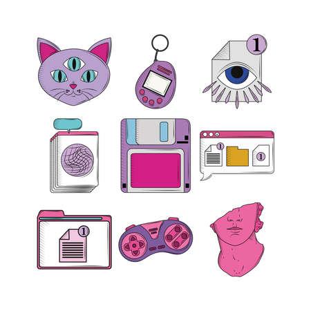 retro tamagochi floopy control icons Stock Illustratie