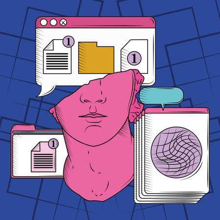 retro window folder data and document Ilustração