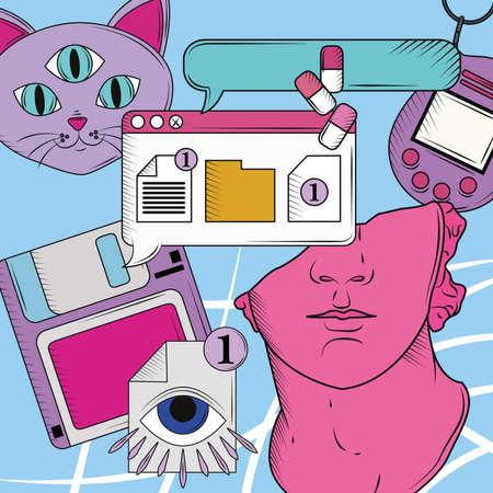 retro futuristic surreal technology layout