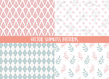 seamless patterns floral leaves decoration