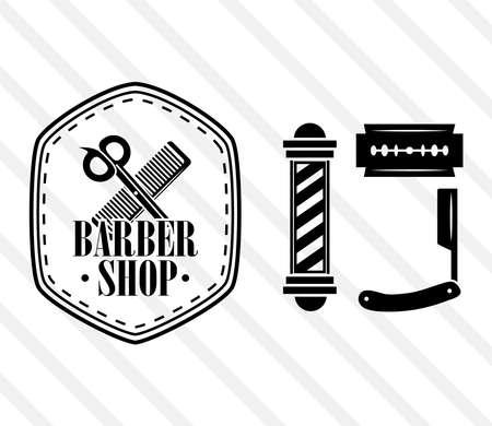 barber shop pole razor set 向量圖像