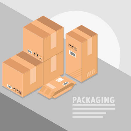 packaging cardboard boxes cargo mail 向量圖像
