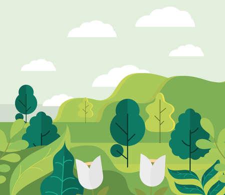 landscape trees foliage flowers cartoon 向量圖像
