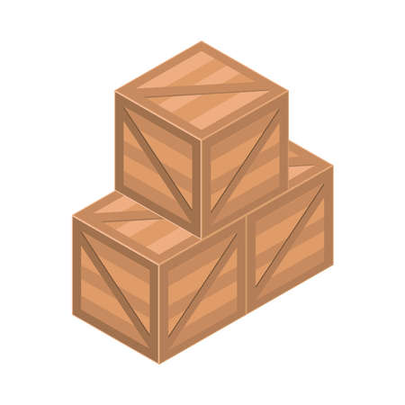 wooden boxes post mail isolated