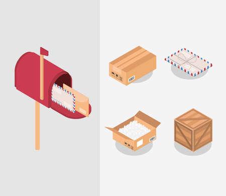 set of postal parcels postbox envelopes