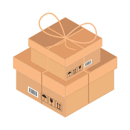 wrapped delivery boxes isolated icon