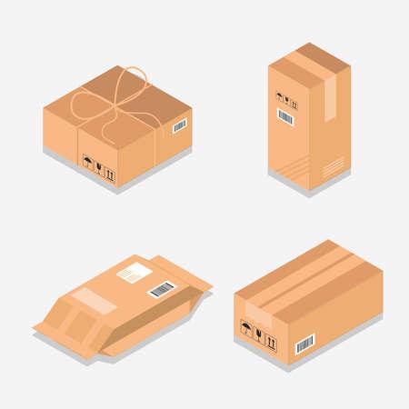 cardboard box packaging mockup set