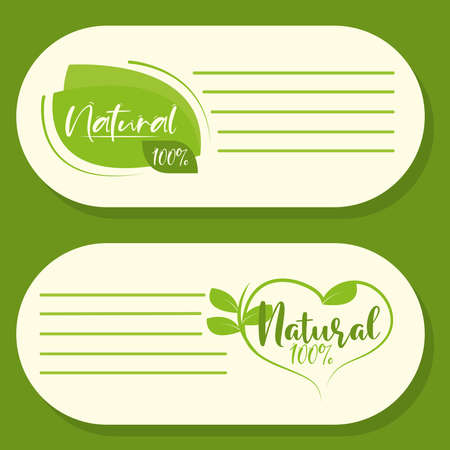 organic natural products green stickers 向量圖像