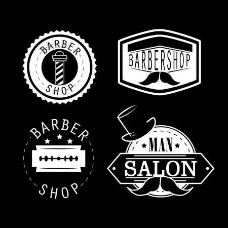 barber shop vintage banner set