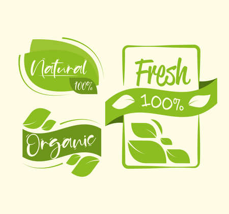 organic food stickers green set