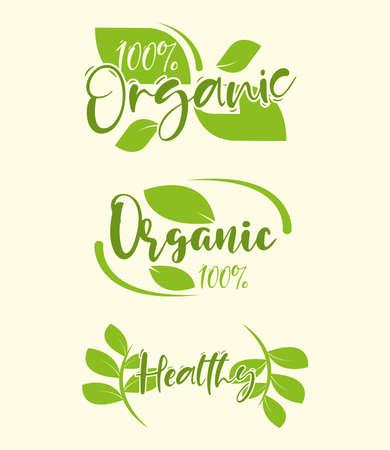 organic food healthy lettering set 向量圖像