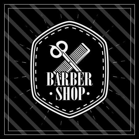 barber shop lettering label retro