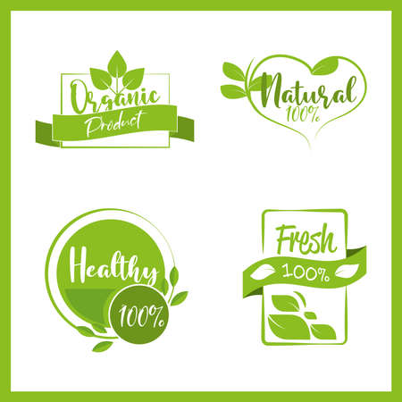 set organic natural products labels 向量圖像