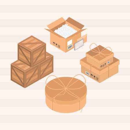 packaging delivery boxes carton wood set
