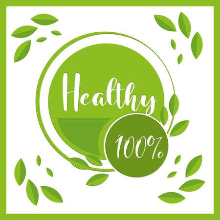 healthy organic leaves nature badge 向量圖像
