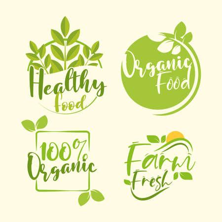 organic healthy food badge set 向量圖像