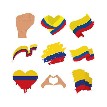 Colombia flags collection 向量圖像