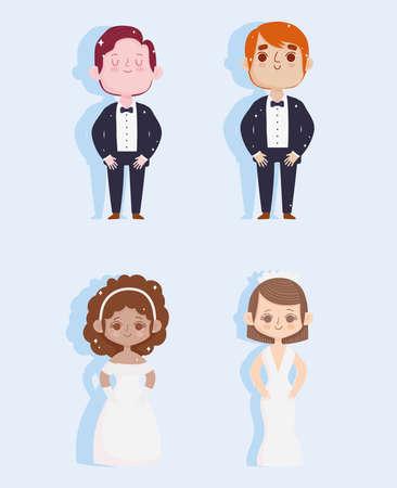 wedding bride groom set 矢量图片