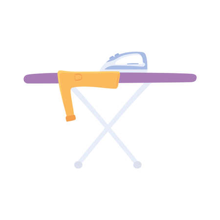 ironing board with a shirt 矢量图像