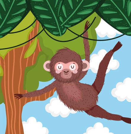 hanging cute monkey