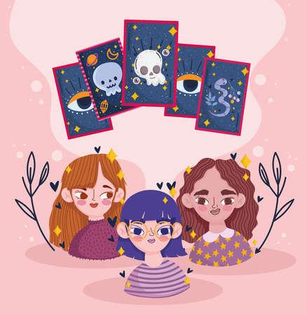 girls with prediction tarot