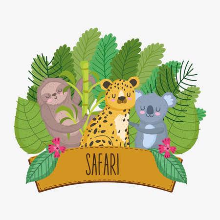 safari animals with sign