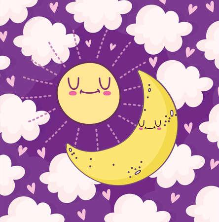 cute moon and sun
