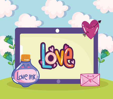 tablet love lettering