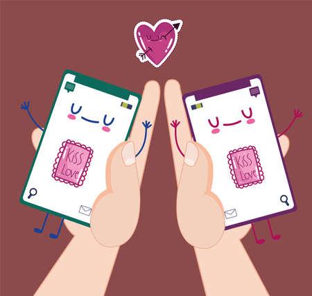 romantic online chat Vectores