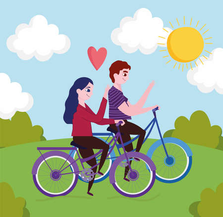 couple riding bycycles