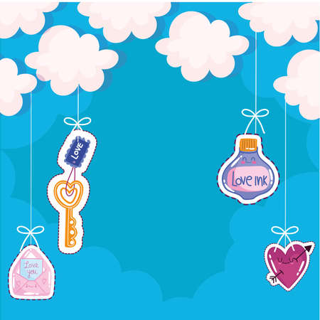 hanging love cute Vectores