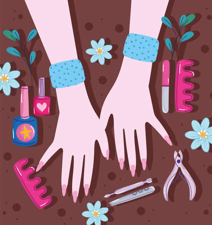 hands and manicure tools Vectores