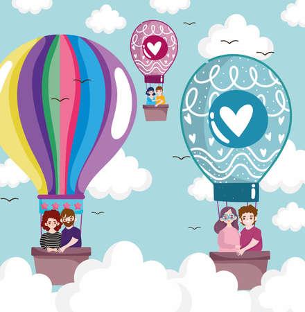 couples traveling air balloon Vectores