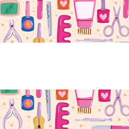 manicure accessories background Vectores