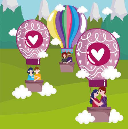 love hot air balloon couples Vectores