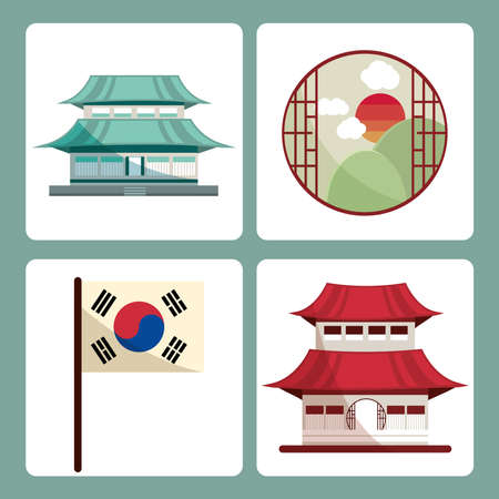 korean buildings and flag