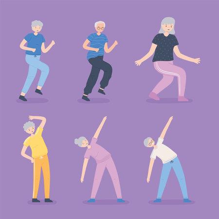 elderly people doing exercise Illustration