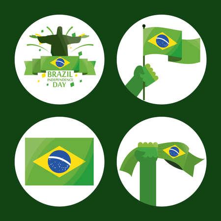 icon set brazil independence day Illustration