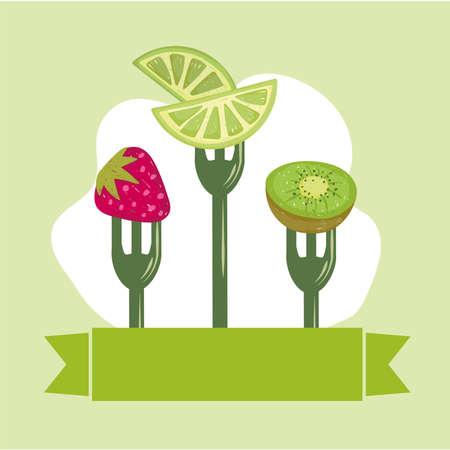 healthy food fruits Illustration