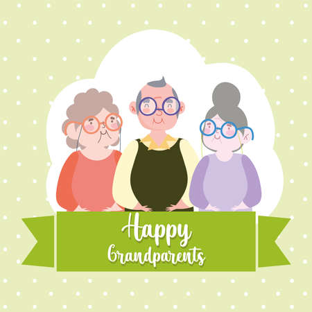 happy grandparents cartoon