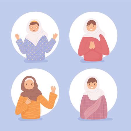 muslim cartoon women Illustration