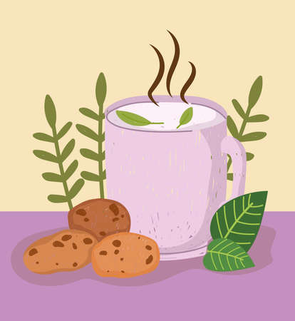 tea cup wih cookies