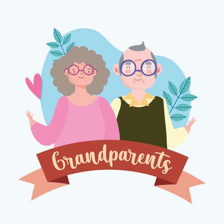 portrait cartoon grandparents