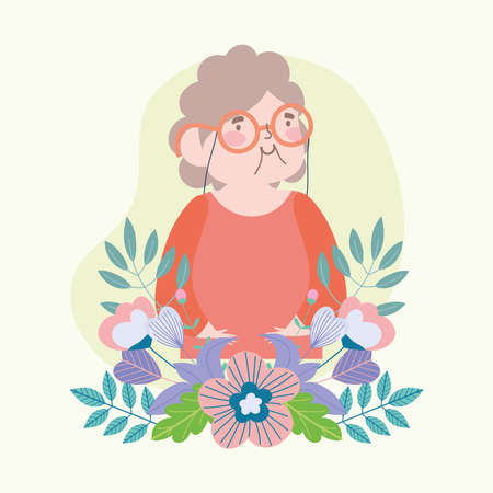 grandmother with flowers Illustration