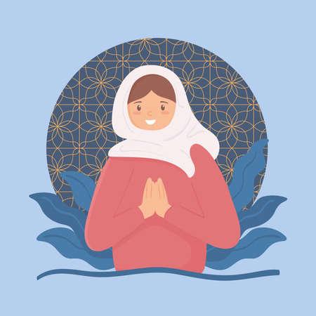 muslim woman praying Illustration