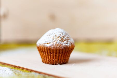 homemade cake muffin dusted with powder on a light background