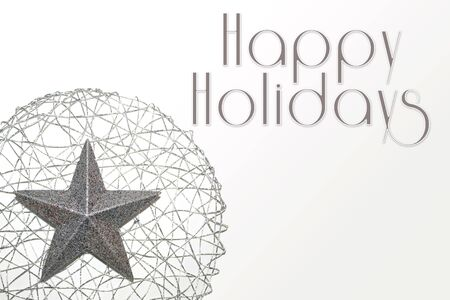 Silver Star Background with Happy Holidays Text