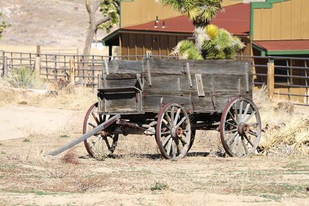 an old west abandoned vintage wagon